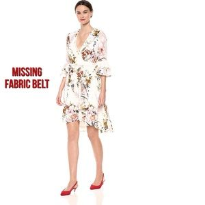 Gabby Skye Bell Sleeve Floral Faux Wrap Dress